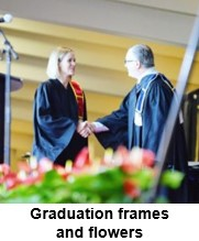 Graduation frames and flowers